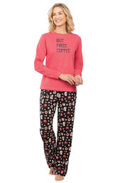 Model wearing Black and Pink Coffee PJ with Graphic Tee for Women image number 0