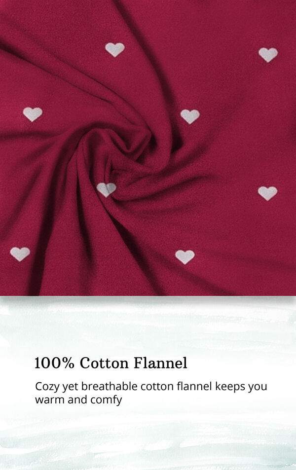 Red fabric with Gray heart print and the following copy: 100% cotton flannel: cozy yet breathable cotton flannel keeps you warm and comfy image number 3