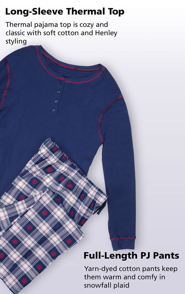 Close up of Long-Sleeve Thermal Top and Full-length PJ pants with the following copy: Thermal pajama top is cozy and classic with soft cotton and Henley styling. Yarn-dyed cotton pants keep them warm and comfy in snowfall plaid image number 2