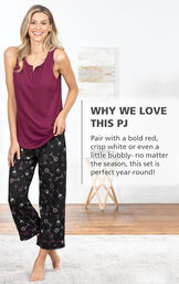 Model wearing Wine Down Tank and Capri Pajamas with the following copy: Why We Love this PJ: Pair with a bold red, crisp white or even a little bubbly - no matter the season, this set is perfect year-round! image number 2