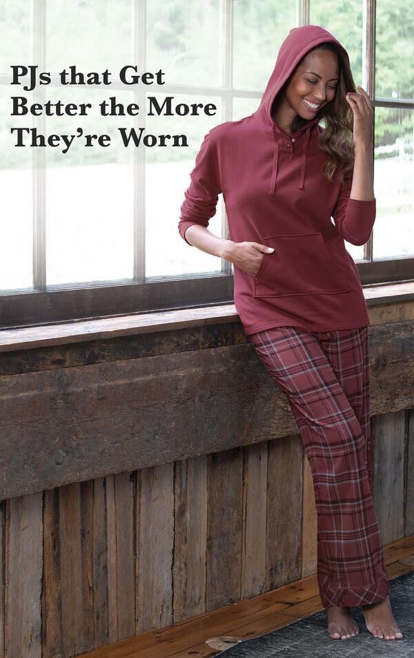 Burgundy Plaid Hooded Women's Pajamas image number 2