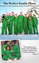 Customer photos of Green Charlie Brown Christmas Button-Front matching family pajamas with the following copy: The Perfect Family Photo. Create the most amazing memories. image number 3