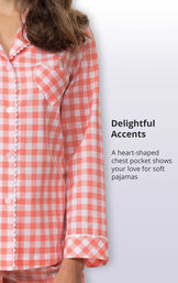 Coral Gingham Button-Front PJ for Women image number 3