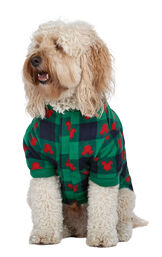 Dog wearing Red and Green Mickey Holiday fleece Pajamas