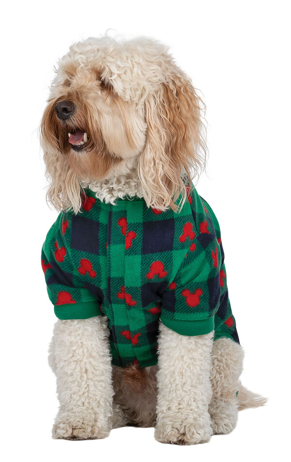 Dog wearing Red and Green Mickey Holiday fleece Pajamas image number 0