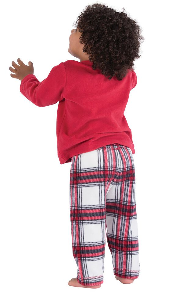 Model wearing Red and White Plaid Fleece PJ for Infants, facing away from the camera image number 1