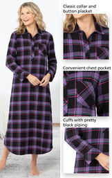 Close-ups of the details of Modern Plaid Flannel Nightgown which include a classic collar and button placket, convenient chest pocket and cuffs with pretty black piping image number 3