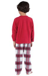 Model wearing Red and White Plaid Fleece PJ for Youth, facing away from the camera image number 1
