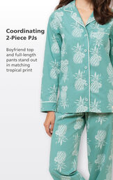 Coordinating 2-Piece PJs - Boyfriend top and full-length pants stand out in matching tropical print image number 3