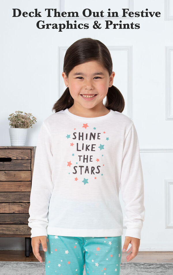 Aqua Stars PJ with Graphic Tee for Youth image number 2