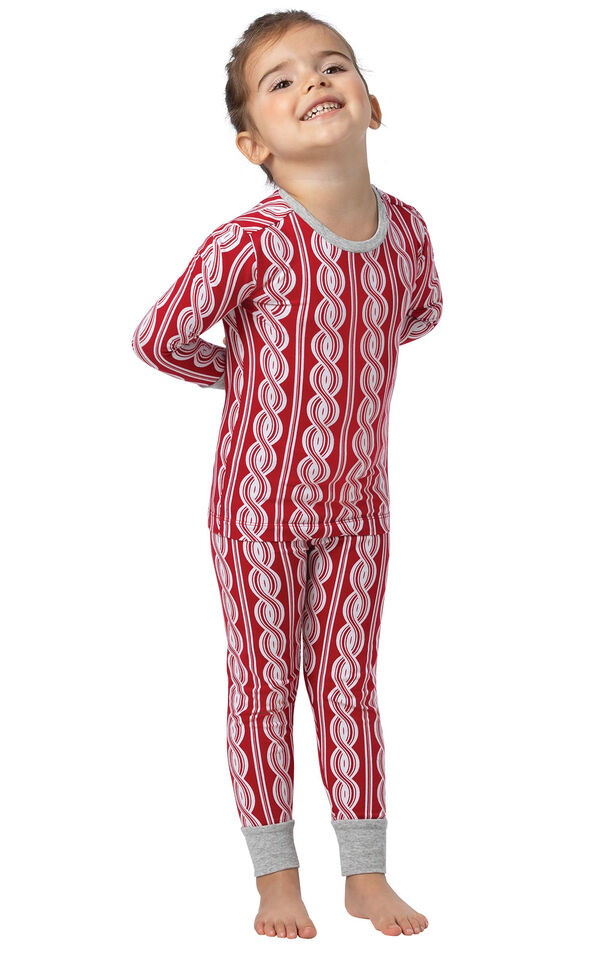Model wearing Red and White Peppermint Twist PJ for Toddlers image number 0