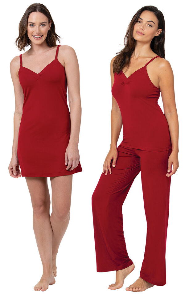 Red Naturally Nude Cami PJs and Chemise image number 0