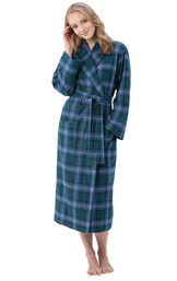 Model wearing Green and Blue Plaid Long Robe for Women image number 0