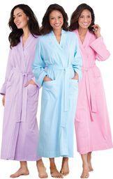 Models wearing Classic Polka-Dot Robe - Lavender, Classic Polka-Dot Robe - Pink and Classic Polka-Dot Robe - Blue. image number 0