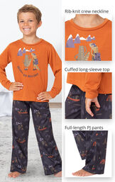 Navy Blue Gator PJ with Graphic Tee for Youth image number 2