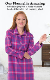Model wearing Raspberry Plaid Flannel Nighty by bed with the following copy: Our Flannel is Amazing. Timeless nightgown is made with soft, brushed flannel in rich raspberry plaid image number 2