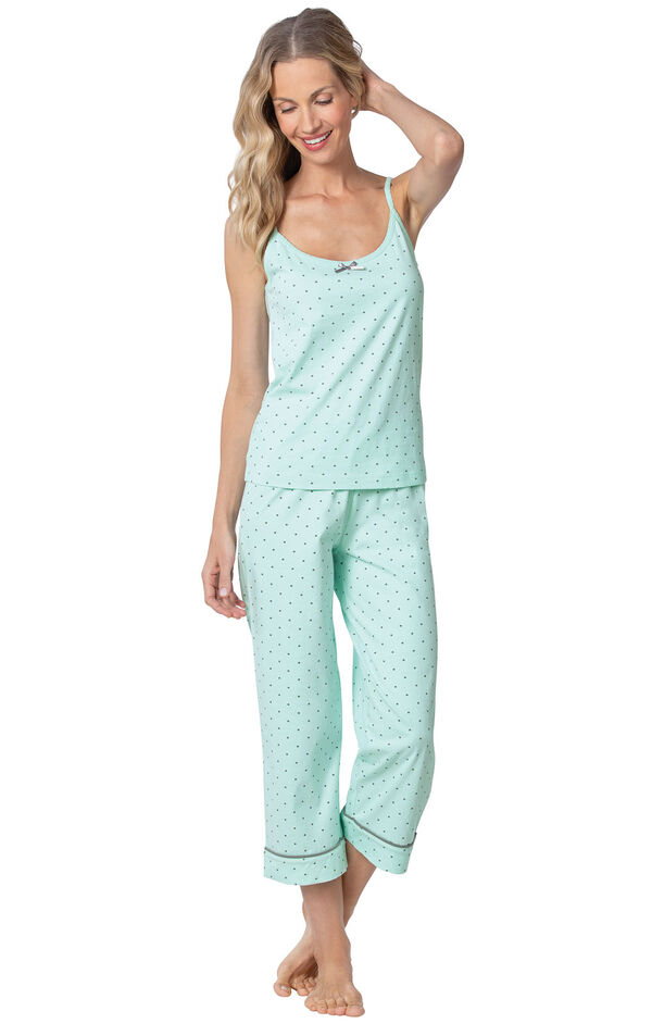 Model wearing Mint and Gray Polka Dot Cami PJ for Women image number 2