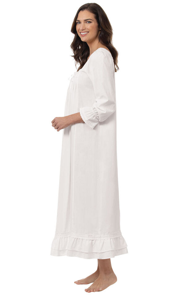 Model wearing Martha Nightgown in White for Women, facing to the side image number 2