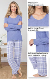 World's Softest Flannel Pullover Pajamas - Lavender Plaid feature a classic and casual scoop neck, warm long-sleeve thermal shirt and full-length plaid pants with pretty piping image number 4