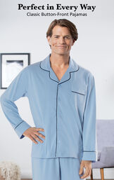 Model wearing Light Blue Solid Knit Button-Front Pajamas by chair with the following copy: Perfect in Every Way - Classic Button-Front Pajamas image number 2