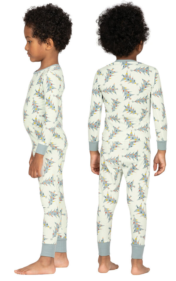 Model wearing Green Pine Tree PJ for Toddlers, facing away from the camera and then to the side image number 1