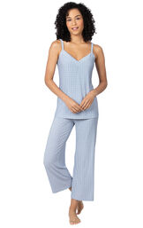 Model wearing Blue Stretch Knit Geo Print Cami Crop Pant PJ for Women image number 0