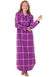 Model wearing Pink and Purple Bright Plaid Gown for Women image number 0