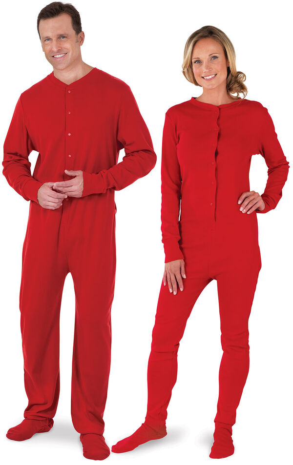 Models wearing Red Dropseat Onesie PJ for Him and Her image number 0