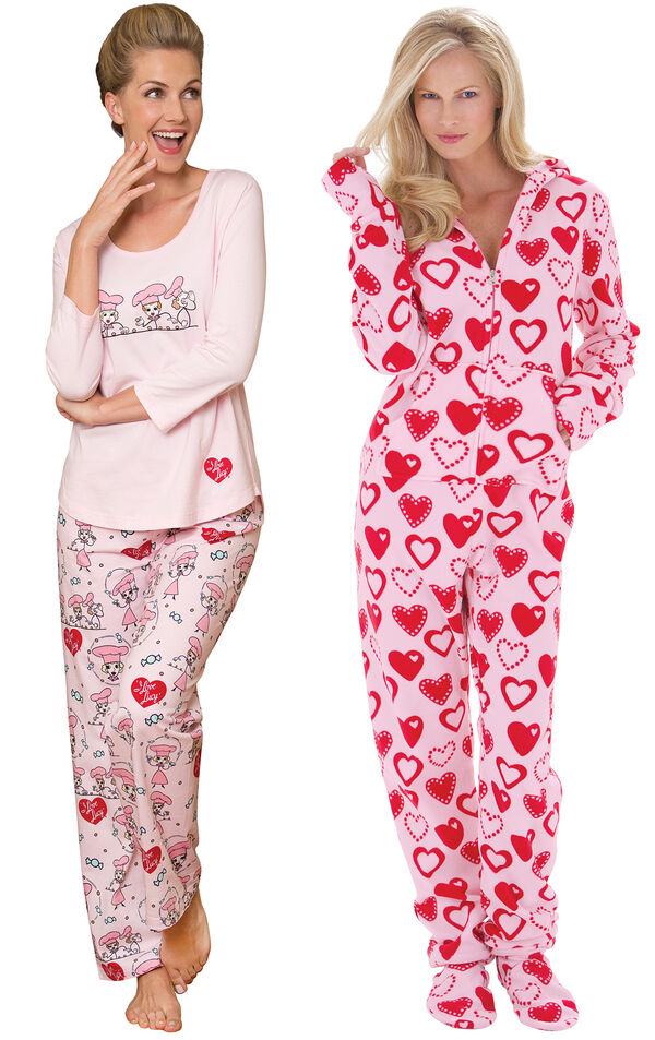Models wearing I Love Lucy Chocolate Factory Pajamas and Hoodie-Footie - Sweetheart Snuggle Fleece. image number 0