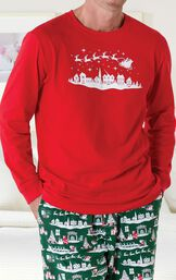 Close-up of the Red Long-Sleeve shirt with white graphic on The Night Before Christmas Men's Pajamas image number 2