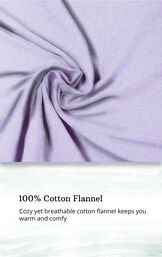 Light purple fabric swatch with the following copy: cozy yet breathable cotton flannel keeps you warm and comfy image number 5