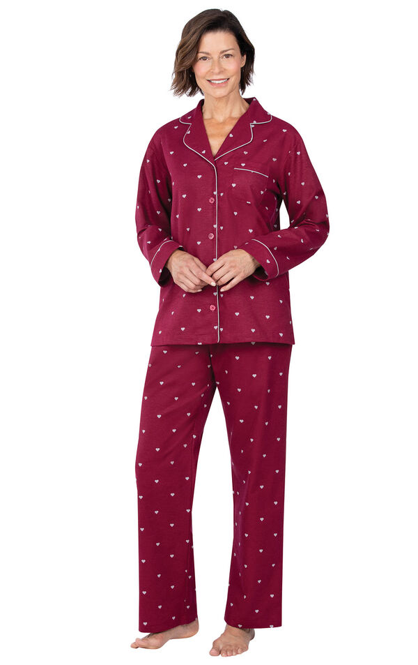 Model wearing Deep Red Hearts Flannel Button-Front PJ for Women  image number 1