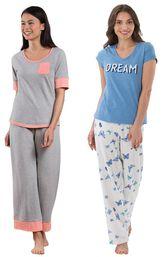 Models wearing Cozy Capri Pajama Set - Gray and Dream Pajamas. image number 0
