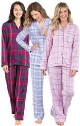 Models wearing Lavender Plaid, Pink Plaid and Black Cherry Plaid World's Softest Flannel Boyfriend Pajamas. image number 0