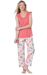 Model wearing Pink Margaritaville Capri PJ for Women image number 0