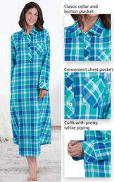 Close-ups of the features of Wintergreen Plaid Flannel Nighty which include a classic collar and button placket, convenient chest pocket and cuffs with pretty white piping image number 3