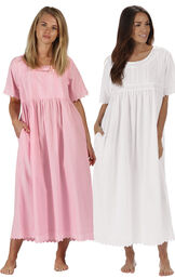 Models wearing Helena Nightgown - Pink and Helena Nightgown - White image number 0