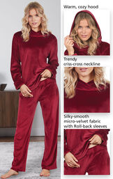 Close-Ups of Tempting Touch PJs features which include a warm, cozy hood, trendy criss-cross neckline and silky-smooth micro-velvet fabric with roll-back sleeves image number 3