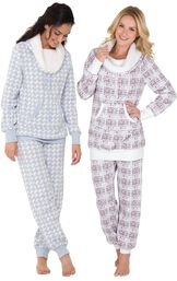 Models wearing Snow Day Shearling Rollneck Pajamas and Chalet Shearling Rollneck Pajamas.