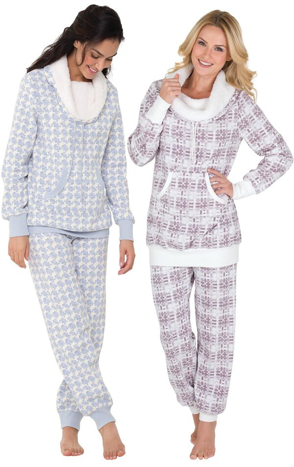 Models wearing Snow Day Shearling Rollneck Pajamas and Chalet Shearling Rollneck Pajamas. image number 0