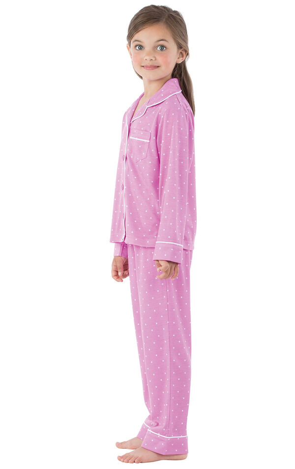Model wearing Lavender and White Polka Dot Button-Front PJ for Youth, facing to the side image number 2