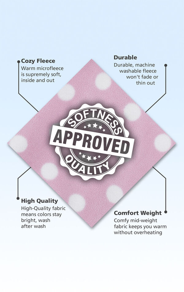 Pink with white polka dot fleece fabric swatch with the following copy: Warm microfleece is supremely soft. Machine washable fleece won't fade. High-quality fabric means colors stay bright. Mid-weight fabric keeps you warm. image number 4