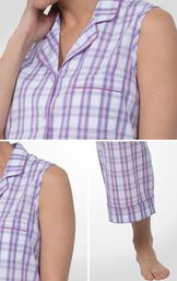 Close-ups of the Perfectly Plaid Button-Front sleeveless top, chest pocket and capri pants image number 5