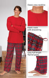 Close-ups of the features of Stewart Plaid Thermal-Top Men's Pajamas which include a classic crew neckline, elastic waist with drawstring and cozy full-length flannel pants image number 3