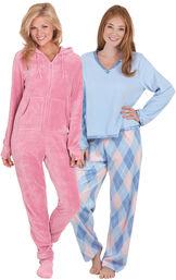 Models wearing Snuggle Fleece Argyle Pajamas and Hoodie-Footie - Pink.