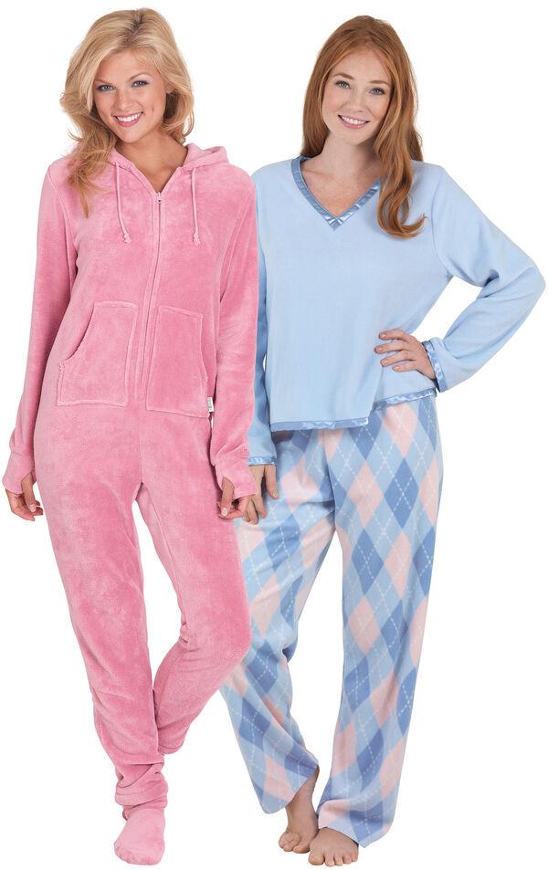 Models wearing Snuggle Fleece Argyle Pajamas and Hoodie-Footie - Pink. image number 0