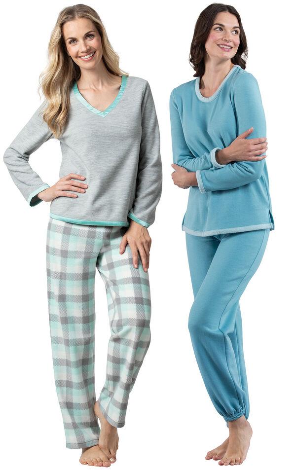 Models wearing Snuggle Fleece Plaid Pajamas - Aqua and World's Softest Jogger Pajamas - Teal. image number 0