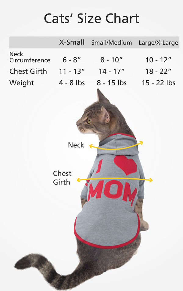 Cats' Sizes X-Small (for cats 4-8 lbs), Small/Medium (for cats 8-15 lbs) and Large/X-Large (for cats 15-22 lbs) image number 2