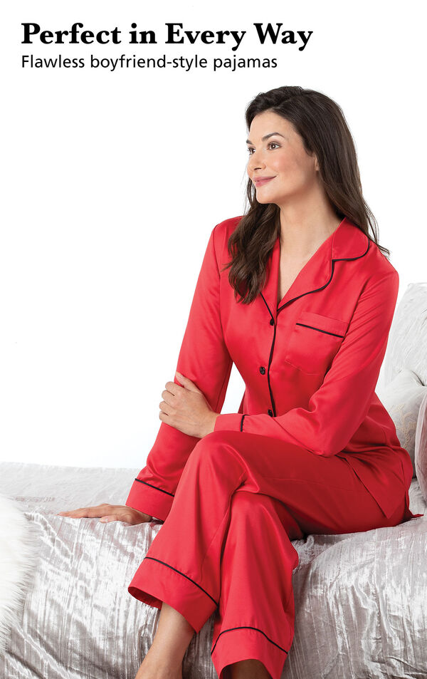 Model wearing Satin Pajamas with Piping - Red with the following copy: Perfect in Every Way. Flawless boyfriend-style pajamas image number 2
