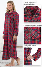 Close-ups of Stewart Plaid Flannel Nighty features which include a classic collar and button placket, convenient chest pocket and cuffs with pretty red piping image number 3